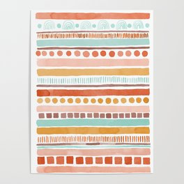 Boho Stripes - Watercolour pattern in rusts, turquoise & mustard. Nursery print Poster