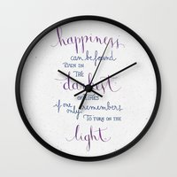dumbledore Wall Clocks featuring Happiness can be found by Earthlightened