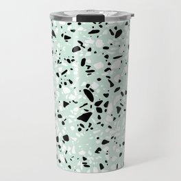 'Speckle Party' Mint Green Black White Dots Speckle Trendy Sporty Pattern Travel Mug