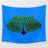 peacock Wall Tapestries featuring Peacock by Whimsy Notions Designs