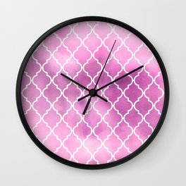 Moroccan Trellis, Latticework, Watercolors - Pink Wall Clock