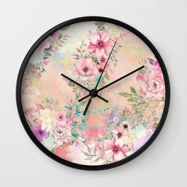 Botanical Fragrances in Blush Cloud Wall Clock