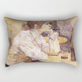 Henri de Toulouse-Lautrec - Portrait de Suzanne Valadon (The hangover) Rectangular Pillow