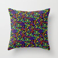 90s Throw Pillows featuring 90s Swirls by Three Pea