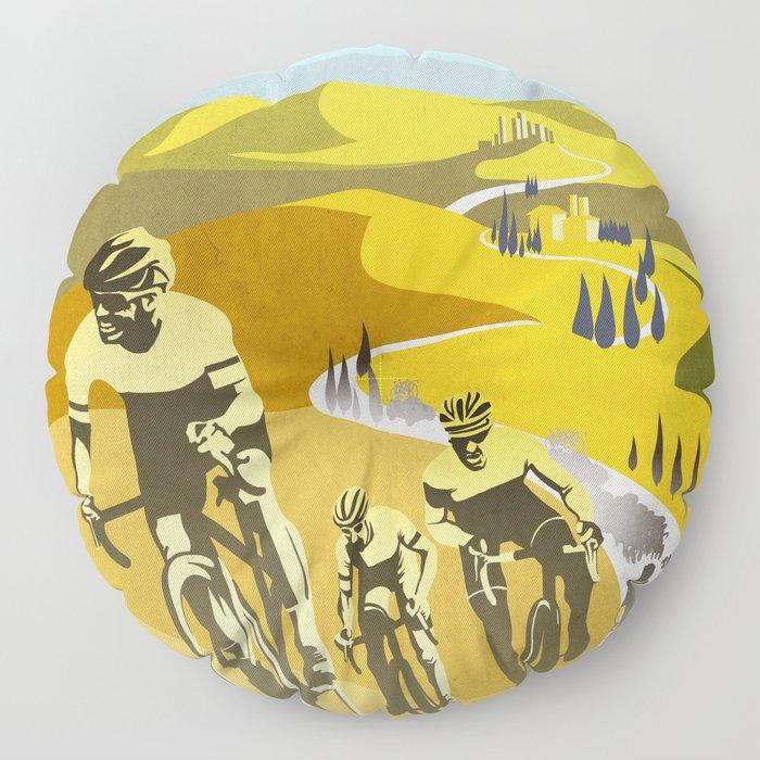 Strade Bianche retro cycling classic art Floor Pillow
