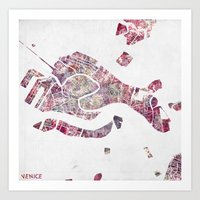 venice Art Prints featuring VENICE by MapMapMaps.Watercolors
