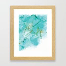 Blue Green & Gold Alcohol Ink Painting Framed Art Print