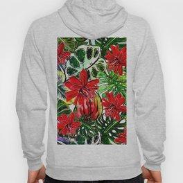 Exotic Passiflora Flowers Jungle Aloha Pattern Hoody