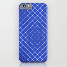 Royal Blue Light Classic Diagonal Grid iPhone Case