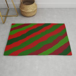 Red and Green Christmas Wrapping Paper Rug