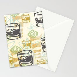 Dad Is Home Retro Midcentury Whiskey Pattern Stationery Cards