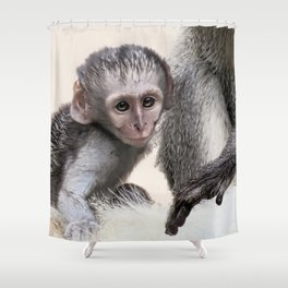 New born baby monkey Shower Curtain