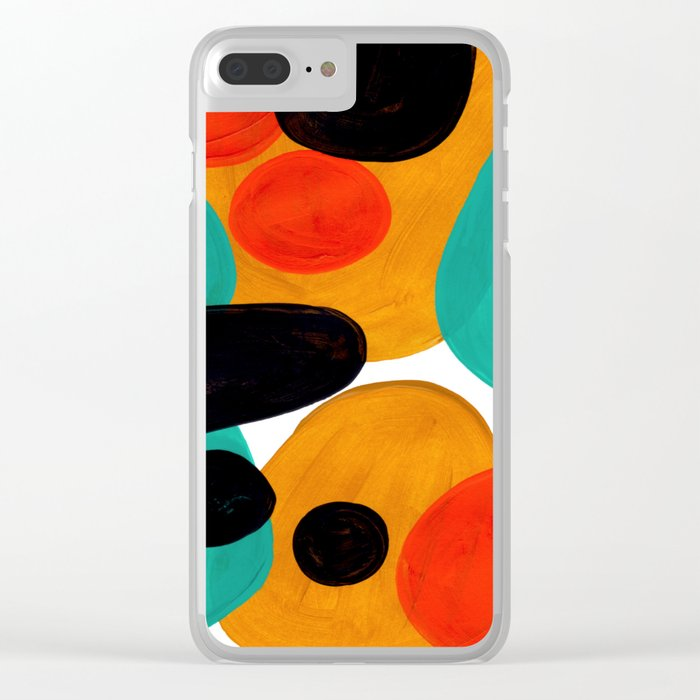 Mid Century Modern Abstract Minimalist Retro Vintage Style Rolie Polie Olie Bubbles Teal Orange Clear iPhone Case