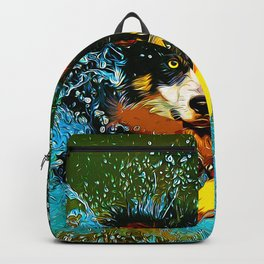 border collie jumping in water vector art Backpack