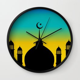 Mosque dome and minaret silhouette with moon during sunset - eid gifts Wall Clock