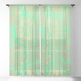Spring Green and Gold Mandala Pattern Sheer Curtain