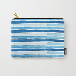 Blue Watercolour Stripes Carry-All Pouch