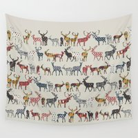 spice Wall Tapestries featuring oatmeal spice deer by Sharon Turner