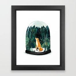 Snow Globe Fox Framed Art Print