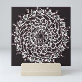 Mandala 12 White/Ivory on Deep Black Background with Edging Mini Art Print