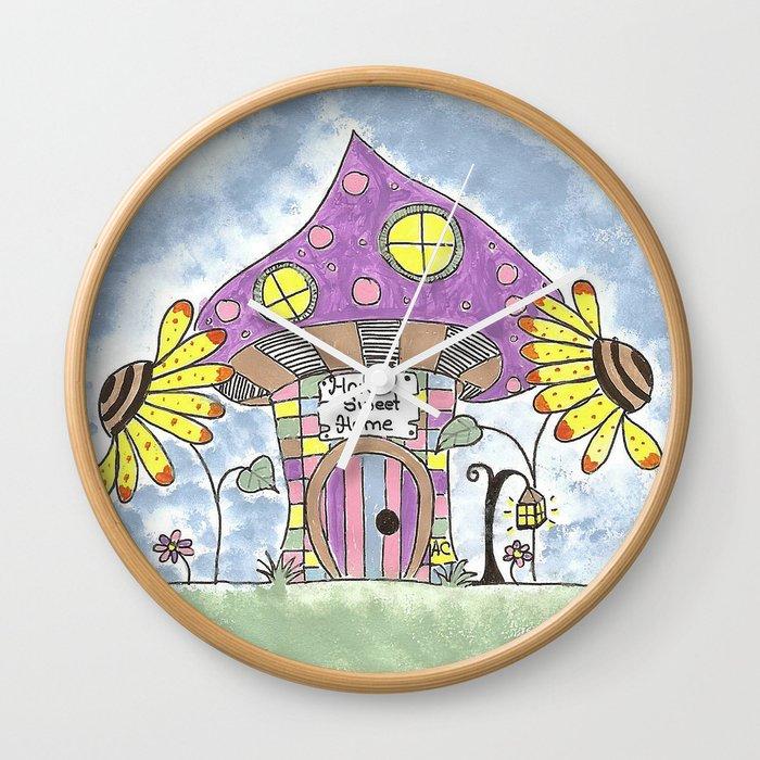 Whimsical Mushroom House Wall Clock