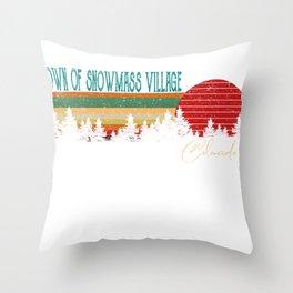 Town of Snowmass Village Colorado Retro Vintage Custom Funny Throw Pillow