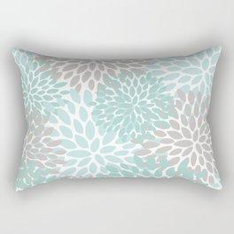 Floral Pattern, Teal, Aqua, Turquoise,Gray Rectangular Pillow