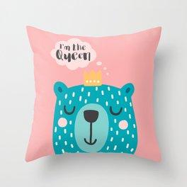 Cute Babies - I'm the queen Pink Throw Pillow