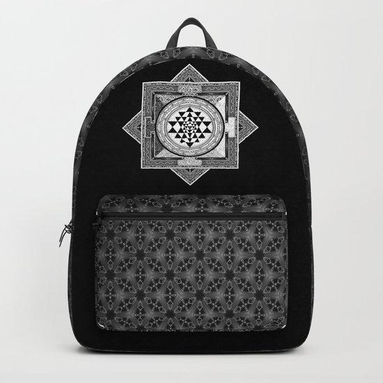 Sri Yantra Black & White Sacred Geometry Mandala Backpack