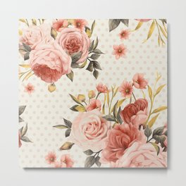 Blooms and Dots Metal Print