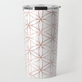 Mandala Rose Gold Flower of Life Travel Mug