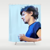 louis tomlinson Shower Curtains featuring Colours of Tomlinson by gustinobrien