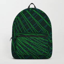 Rays of green light with mirrored light waves on dark. Backpack