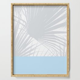 Tropical Pastel Grey Palm Leaves on Soft Blue Serving Tray