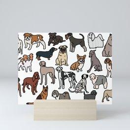 Dog breeds, original artwork Mini Art Print