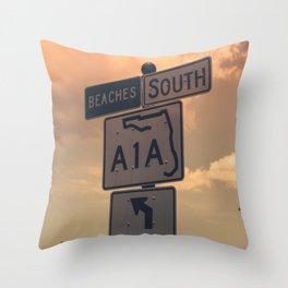 A1A South To The Beaches Throw Pillow