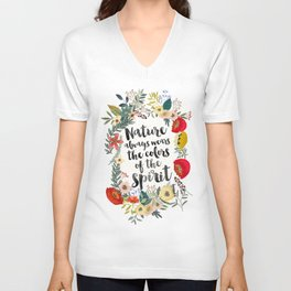 NATURE ALWAYS WEARS THE COLORS OF THE SPIRIT Unisex V-Neck