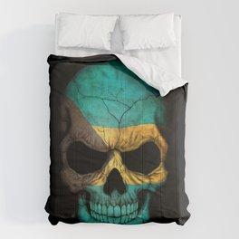 Dark Skull with Flag of Bahamas Comforters