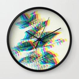 Botanical Flower Glitch III Wall Clock