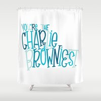 charlie brown Shower Curtains featuring Charlie Browniest by Chelsea Herrick