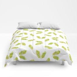 Hand painted green watercolor oak leaves pattern Comforters