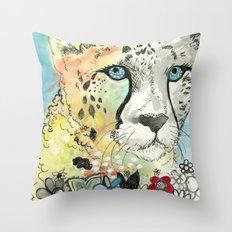 Cheetah Flowers Throw Pillow