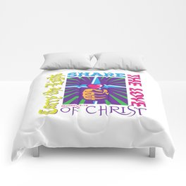 Carry the Light of Christ - White Background Comforters