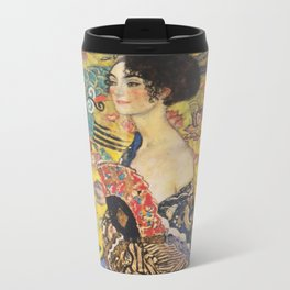 Gustav Klimt Lady With Fan  Art Nouveau Painting Metal Travel Mug