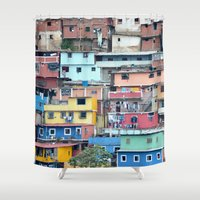 tetris Shower Curtains featuring Venezuelan Tetris by MarcelPages