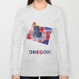 Oregon map outline Red blue brown watercolor painting Long Sleeve T-shirt