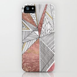 Geometrical hand painted faux rose gold black white abstract pattern iPhone Case