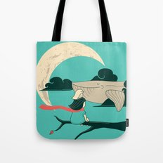 Did you see the whale in flight Tote Bag