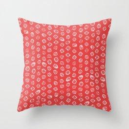Shibori kanoko white dots over red Throw Pillow