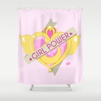 girl power Shower Curtains featuring Sailor Moon - Girl Power by Lab Rat